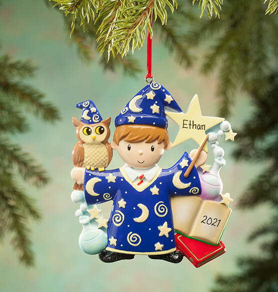 Personalized Wizard Ornament - View 2