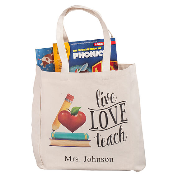 Personalized Live Love Teach Tote - View 4