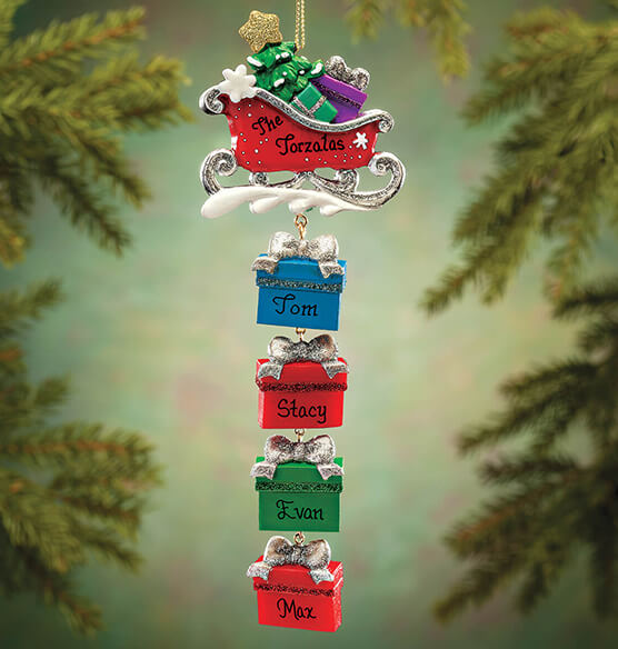 Personalized Sleigh and Gifts Dangle Ornament - View 2