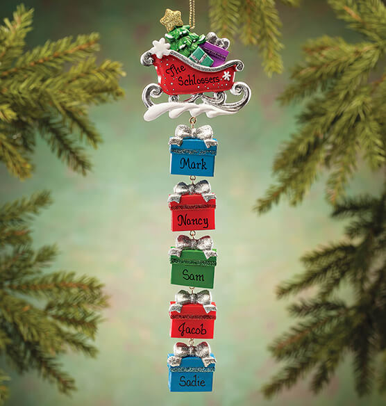 Personalized Sleigh and Gifts Dangle Ornament - View 3