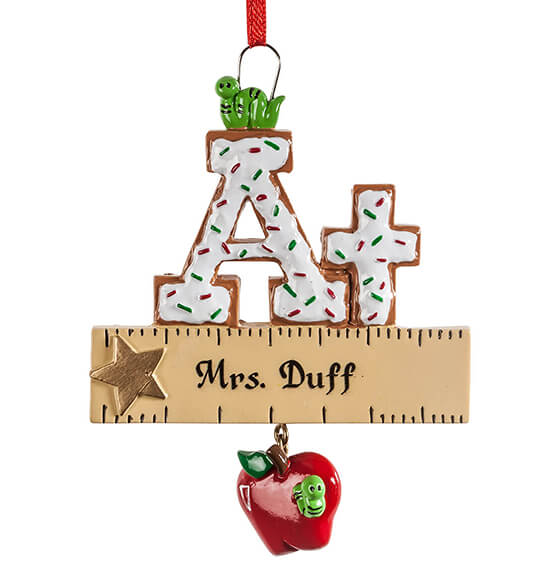 Personalized A+ Teacher Cookie Ornament - View 2