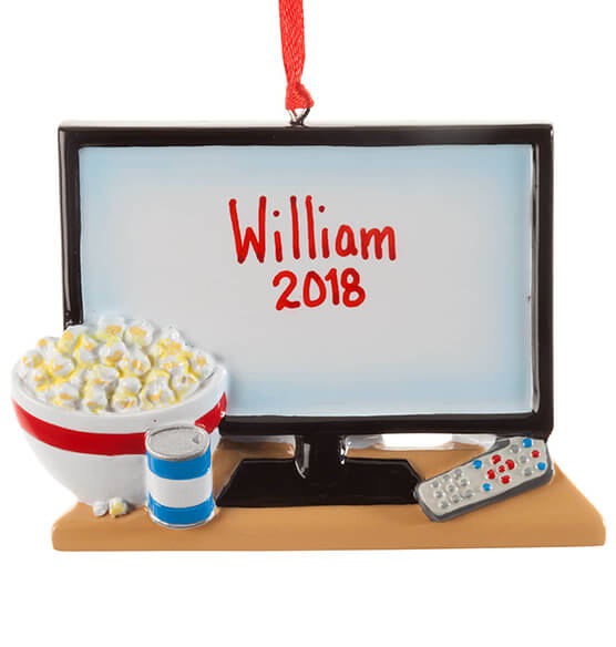 Personalized TV & Popcorn Ornament - View 2