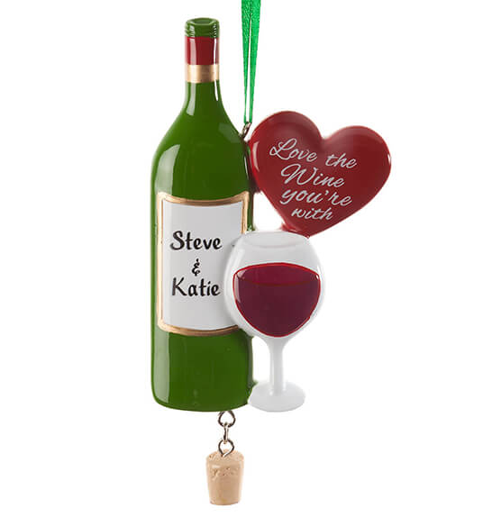 "Personalized ""Love the Wine You're With"" Ornament - View 2"