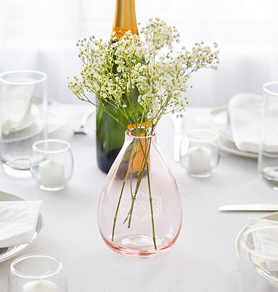 Personalized Clear or Blush Hand Blown Glass Vase - View 3