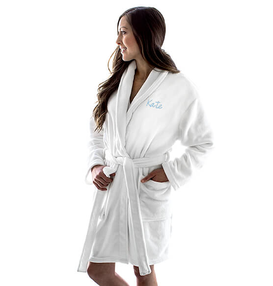 Personalized Shawl Collar White Plush Fleece Robe - View 3