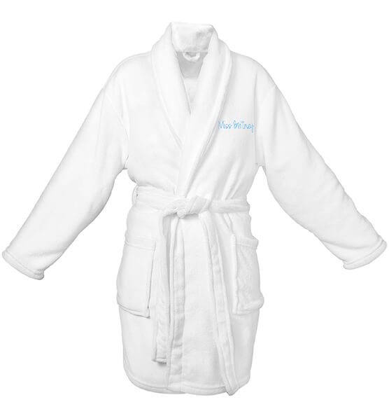 Personalized Shawl Collar White Plush Fleece Robe - View 4