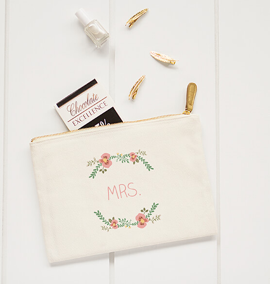 Personalized Floral Design Canvas Clutch Bag - View 3