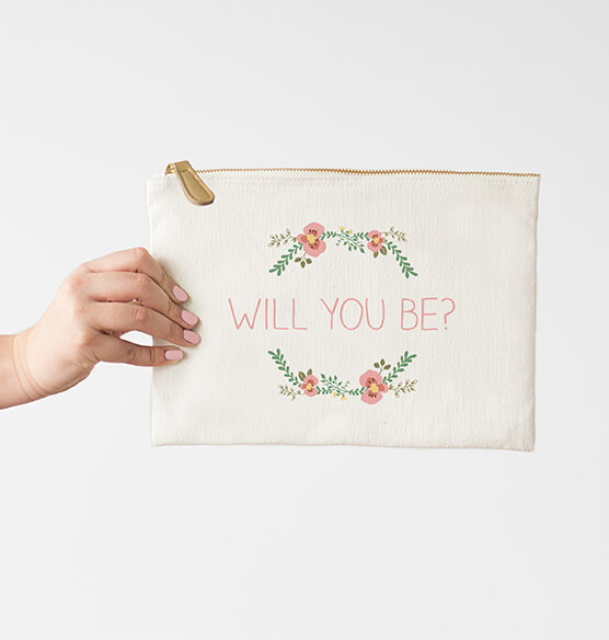 Personalized Floral Design Canvas Clutch Bag - View 5