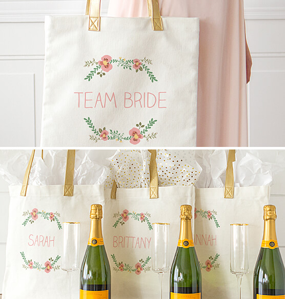 Personalized Floral Canvas Tote - View 2