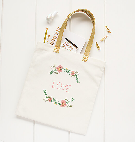 Personalized Floral Canvas Tote - View 3