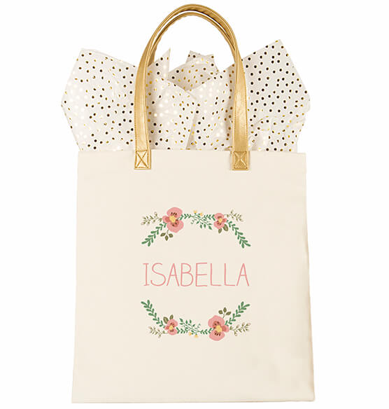 Personalized Floral Canvas Tote - View 4
