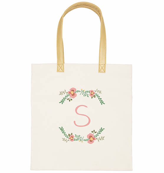 Personalized Floral Canvas Tote - View 5