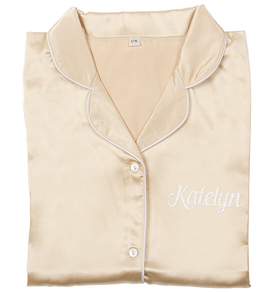 Personalized Glitter Script Satin Night Shirt - View 4