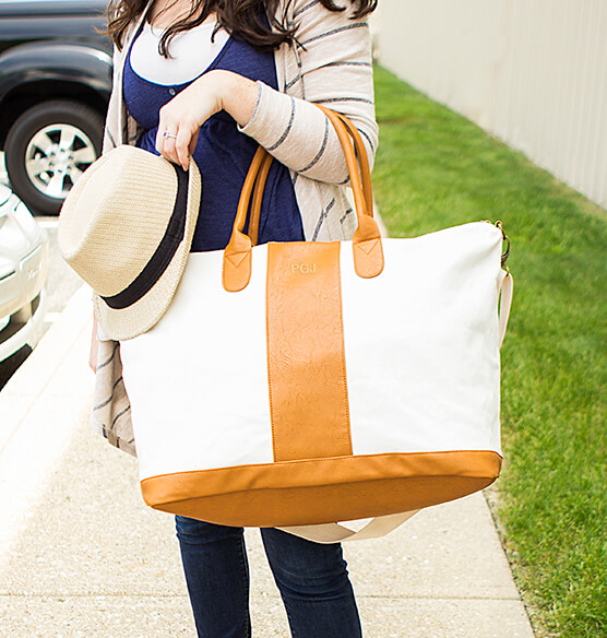 Canvas and Faux Leather Oversized Weekender Tote - View 2
