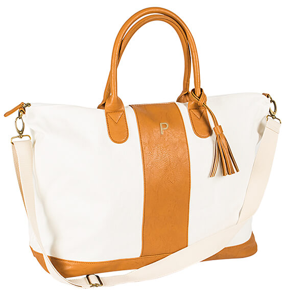 Canvas and Faux Leather Oversized Weekender Tote - View 4