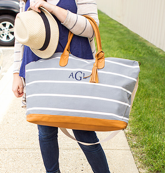 Personalized Striped Canvas Oversized Weekender Tote - View 2