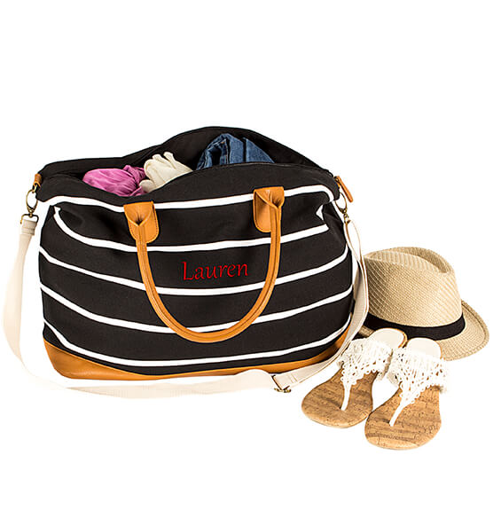 Personalized Striped Canvas Oversized Weekender Tote - View 4
