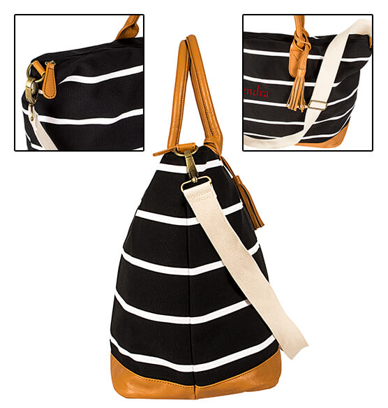 Personalized Striped Canvas Oversized Weekender Tote - View 5