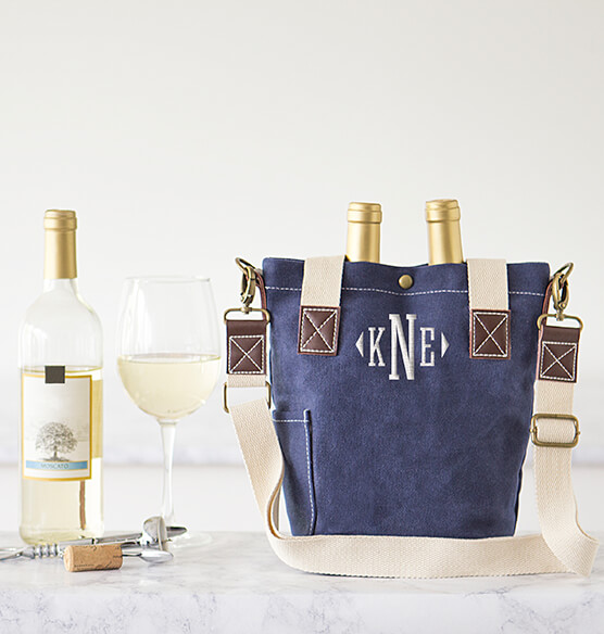 Personalized Navy Wax Canvas Wine Tote with Pocket - View 2