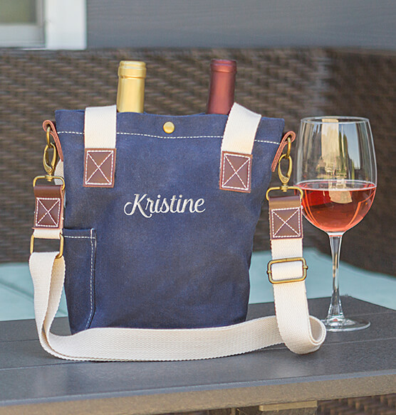 Personalized Navy Wax Canvas Wine Tote with Pocket - View 3