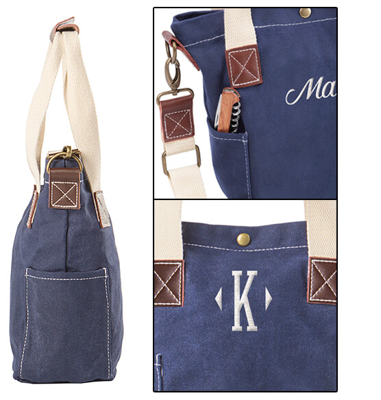 Personalized Navy Wax Canvas Wine Tote with Pocket - View 5