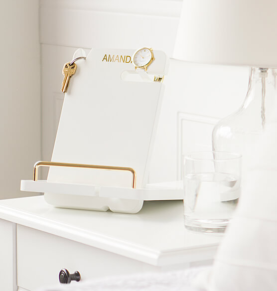 Personalized Gold Embossed White Lacquer Docking Station - View 3