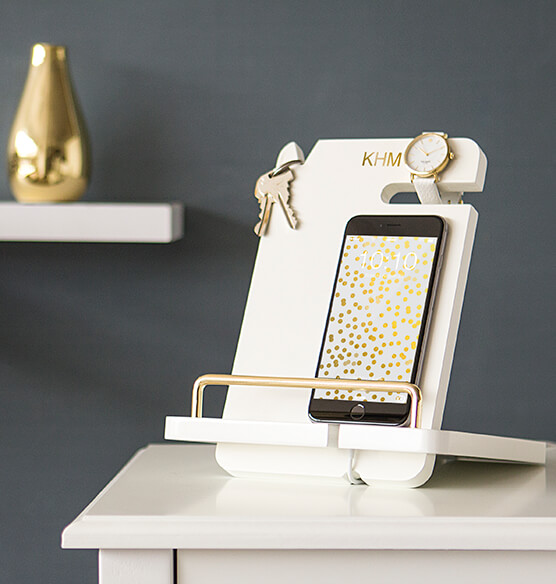 Personalized Gold Embossed White Lacquer Docking Station - View 4