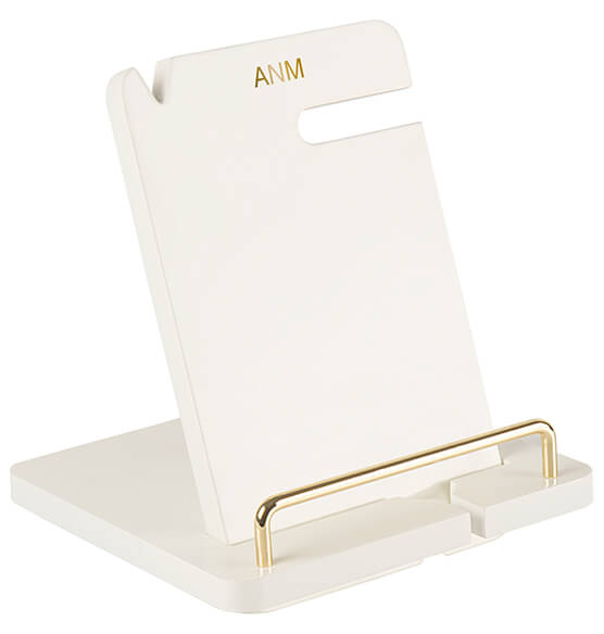Personalized Gold Embossed White Lacquer Docking Station - View 5