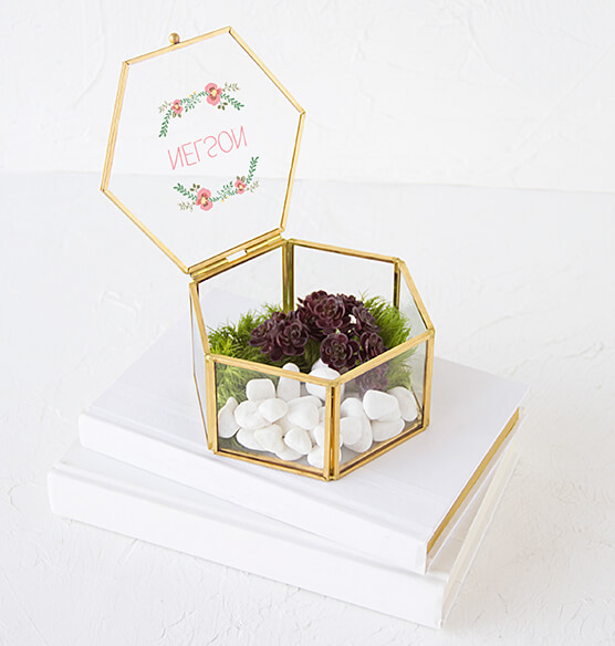 Personalized Floral Design Gold Glass Keepsake Box - View 2