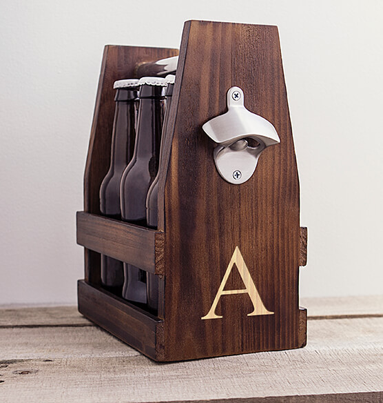Personalized Rustic Craft Beer Carrier with Bottle Opener - View 2