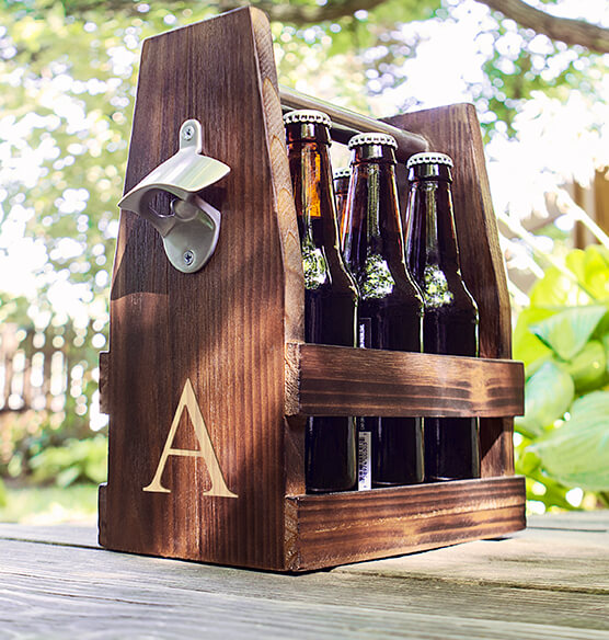 Personalized Rustic Craft Beer Carrier with Bottle Opener - View 3