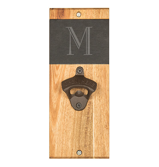 Personalized Slate & Acacia Wall Mount Bottle Opener - View 4