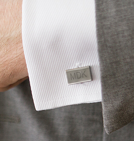 Personalized Gunmetal Rectangle Cuff Links - View 2
