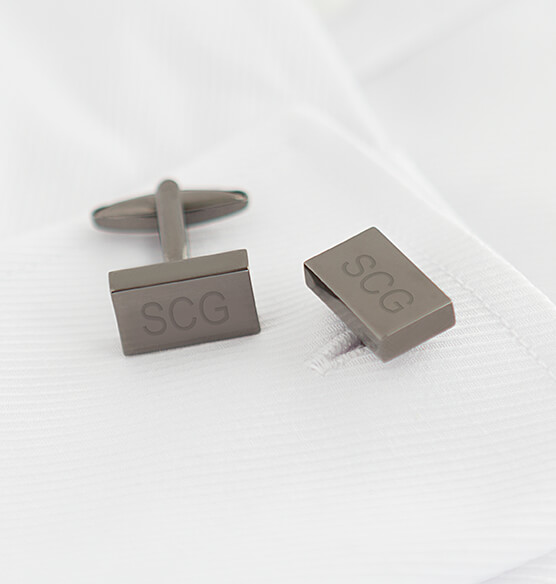 Personalized Gunmetal Rectangle Cuff Links - View 3
