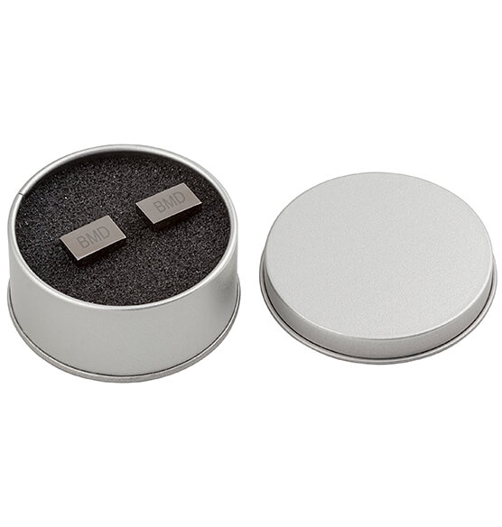 Personalized Gunmetal Rectangle Cuff Links - View 5