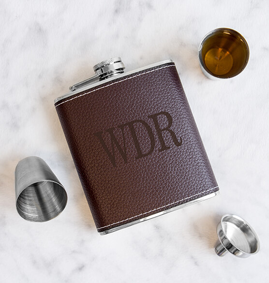 Personalized Leather Wrapped Flask Set - View 2