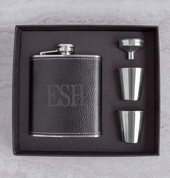 Personalized Leather Wrapped Flask Set - View 3