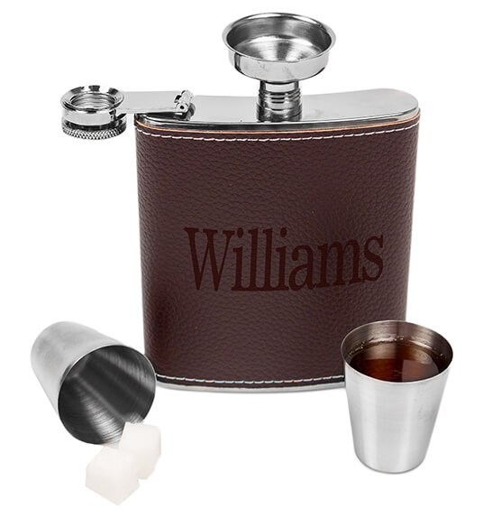 Personalized Leather Wrapped Flask Set - View 4
