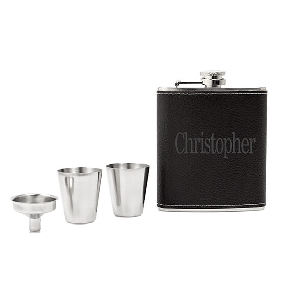 Personalized Leather Wrapped Flask Set - View 5