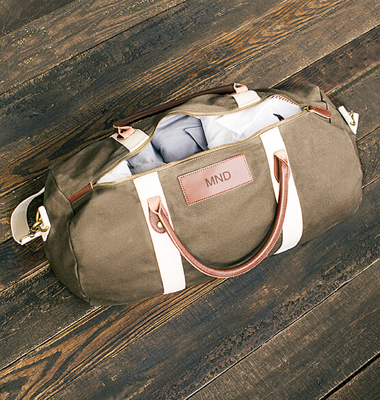 Personalized Canvas & Leather Duffle Bag - View 2
