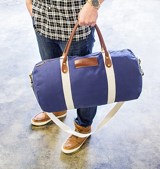 Personalized Canvas & Leather Duffle Bag - View 3