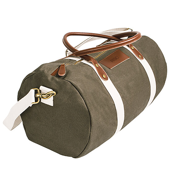 Personalized Canvas & Leather Duffle Bag - View 5