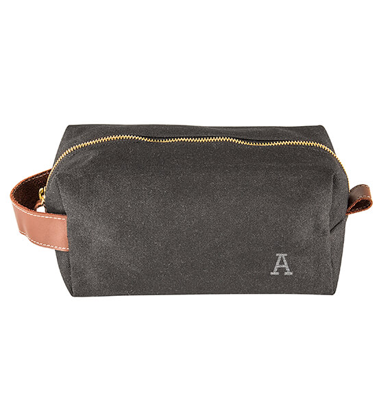 Personalized Men's Waxed Canvas and Leather Dopp Kit - View 2