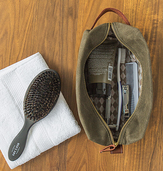 Personalized Men's Waxed Canvas and Leather Dopp Kit - View 3