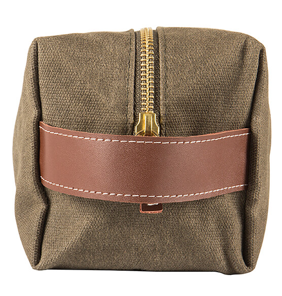 Personalized Men's Waxed Canvas and Leather Dopp Kit - View 5