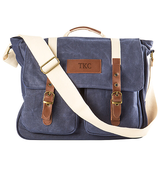 Personalized Men's Waxed Canvas and Leather Messenger Bag - View 5