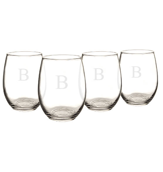 Personalized Stemless Wine Glasses 21 oz., Set of 4 - View 5