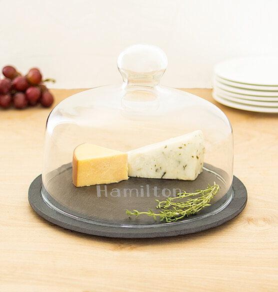 Personalized Slate Tray with Glass Dome - View 3