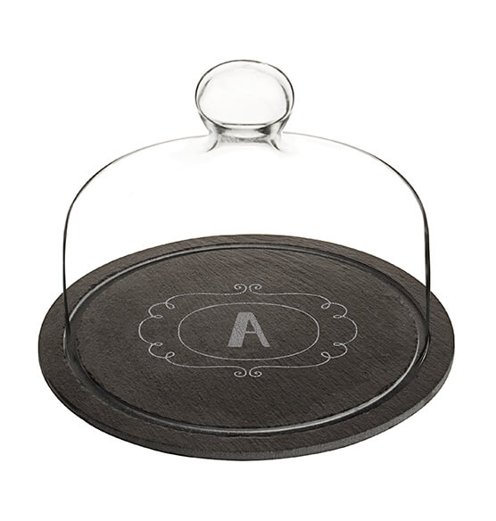 Personalized Slate Tray with Glass Dome - View 4