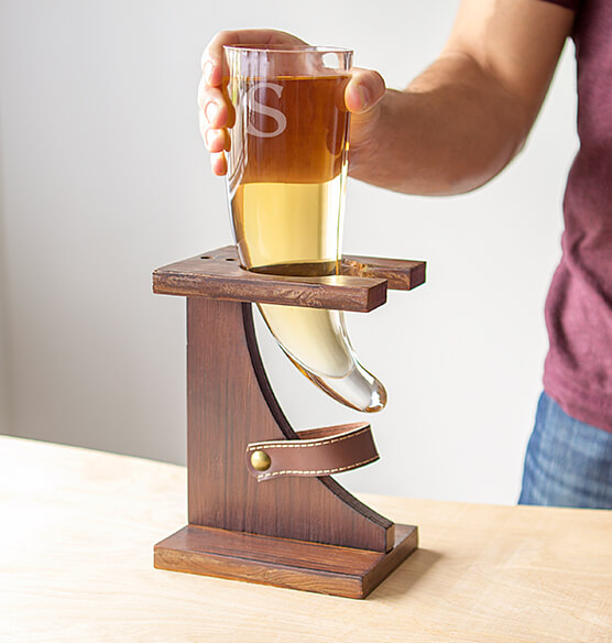 Personalized Glass Viking Beer Horn 16 oz. with Rustic Stand - View 2